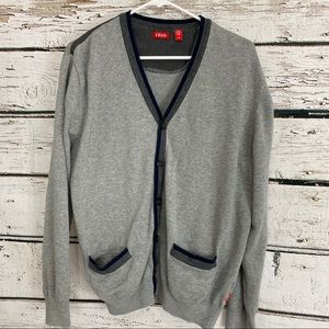 Izod Men's Cardigan Sweater EUC Large Grey/Gray